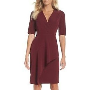 MAGGY LONDON Red  Dream Ruffle V-Neck 831